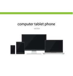 Computer phone tablet flat vector