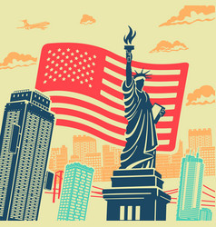 statue of liberty background vector image