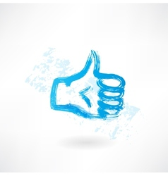 Thumb up grunge icon vector