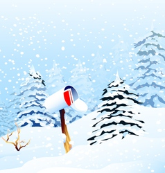 Christmas Greetings and Winter landscape vector image