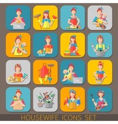 Housewife icons set vector