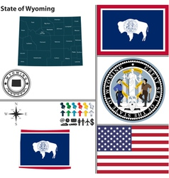 Map of wyoming with seal vector