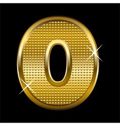 Golden font type letter O vector image