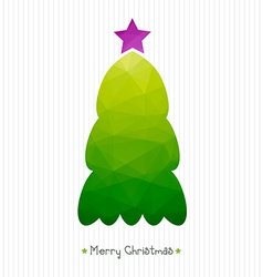 Christmas card polygonal triangular christmas tree vector