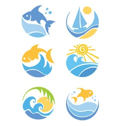 fish and sea vector image