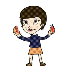Comic cartoon woman eating hotdogs vector