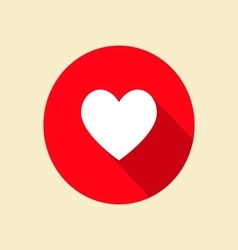Heart icon with long shadow vector image