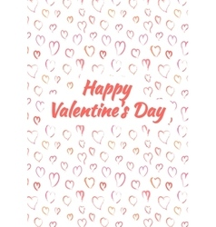 Happy valentines day card with pink heards vector