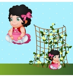 Brunette girl and flowers character in nature vector