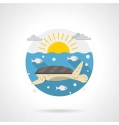 Sea turtle detailed color icon vector image