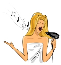 A woman who sings with a hairdryer vector