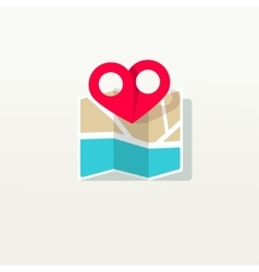 Love place heart pin pointer with city travel map vector