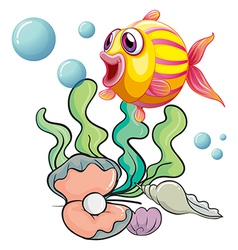 A colourful fish under the sea with shells vector