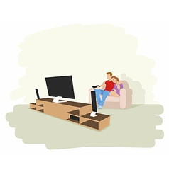 a couple watching tv vector image