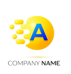 A letter splash yellow dots and circle bubble vector