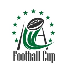 American football cup badge with ball and goalpost vector