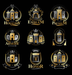 ancient castles emblems set heraldic coat of arms vector image vector image