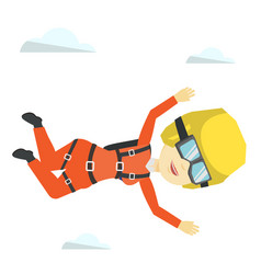 asian parachutist jumping with parachute vector image vector image