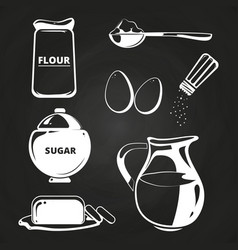 Baking ingredients collection on chalkboard vector