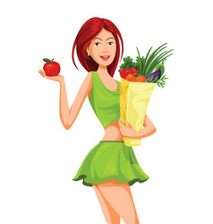 Beautiful woman holding an apple and grocery bag vector