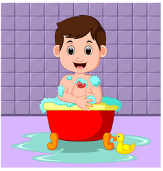 Boy sitting in a bathtub filled with bubbles vector