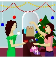 Buyer in shop purchase gifts pays card vector