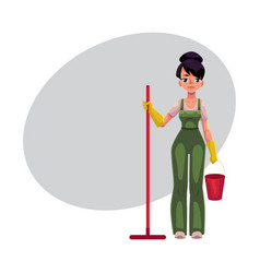Cleaning service girl charwoman cleaner in vector