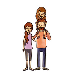 Color crayon stripe cartoon family with mother and vector