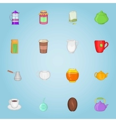 Drink icons set cartoon style vector