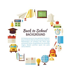 Flat Style Circle Template of Back to School and vector image vector image