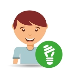 happy boy environment bulb sign vector image vector image