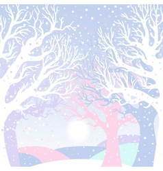 New year card with winter forest vector image