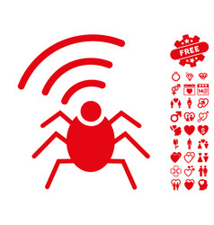radio spy bug icon with valentine bonus vector image vector image
