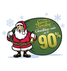 Santa claus bring a bunch of sale items vector