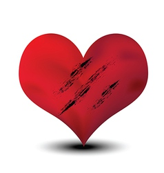 scratched heart vector image vector image