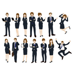 set cartoon business people no1 vector image vector image