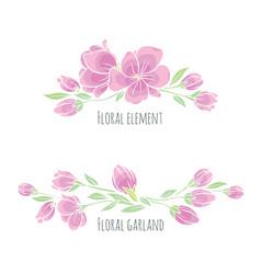 set of design elements pink sakura blossom vector image