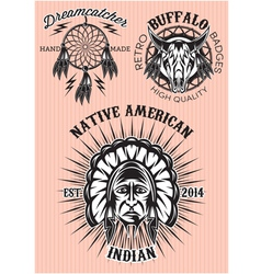 Set of emblems on the theme of native american vector