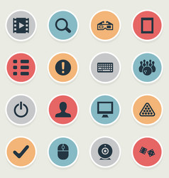 Set of simple leisure icons vector