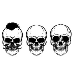 Set of the skulls isolated on white background vector