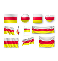 set south ossetia flags banners banners symbols vector image vector image