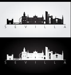 sevilla skyline and landmarks silhouette black vector image