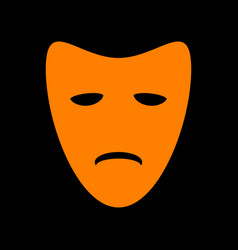Tragedy theatrical masks orange icon on black vector