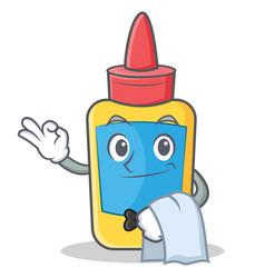 waiter glue bottle character cartoon vector image