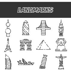 World landmarks icons set vector