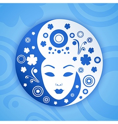 Ying yang symbol with woman face vector image