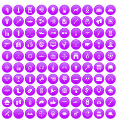 100 target icons set purple vector