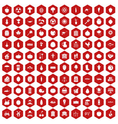 100 vitamins icons hexagon red vector