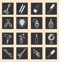 Icon set of haircutting tool icons outlined barber vector