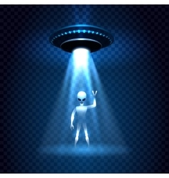 Ufo invasion light beam with alien vector